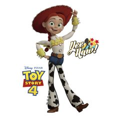 Put your passion on display with a giant Toy Story Jessie - Huge Officially Licensed Disney/PIXAR Removable Wall Decal Fathead wall decal! Toy Story 4 Cast, Toy Story 3 Movie, Toy Story 1995, Woody And Jessie, Jessie Toy Story, Toy Story Buzz, Disney Toys, Disney Pixar, Bo Peep Toy Story