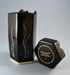 """Handmade ceramic container with """"puzzle lid""""; decorated with dragonfly by summerscrafts on Etsy Handmade Ceramic, Handmade Gifts, Bookends, Puzzle, Container, Unique Jewelry, Pottery, Ceramics, Etsy"""