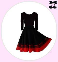 Knielange Kleider - RED DIVA Schwarzes Stretch Kleid - ein Designerstück von Black-Cherrys-Store bei DaWanda