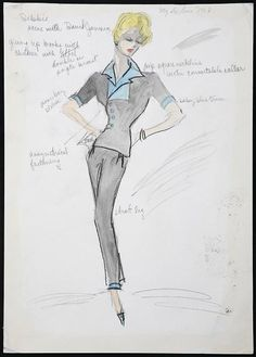 Edith Head sketch for Debbie Reynolds in My Six Loves (1963)