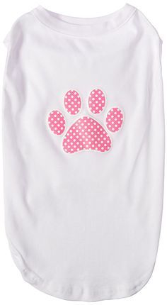 Mirage cat Products Pink Swiss Dot Paw Screen Print Shirt White XXL (18) > Discover this special cat product, click the image : Cat Apparel