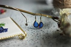 navy blue drop earrings navy blue crystal drop by AFRAcollection