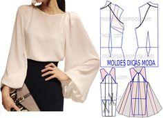 Analise com a devida atenção a transformação do molde de blusa manga raglan. Para fazer este modelo imprima o molde base de blusa e faça a gradação para o