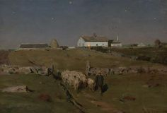 """""""A Moonlight Night,"""" Dwight William Tryon, 1884, oil on panel, 14 x 20"""", private collection."""