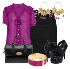Estilo Formal by outfits-de-moda2 on Polyvore featuring moda, Oasis, Lauren Ralph Lauren, Mulberry, Betsey Johnson, Type Z and Wendy Mink