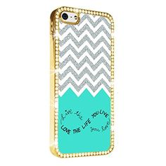 Blue Chevron LIVE the life you LOVE LOVE the life you LIVE Gold iPhone 5/5S Case Luxury Style Cover Diamond Crystal Rhinestone Bling Hard Gold Case Cover for iPhone 5 and 5S PAZATO http://www.amazon.com/dp/B00NQUPG50/ref=cm_sw_r_pi_dp_emziub0T52B0M