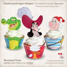 Printable Jake and the Neverland Pirates Cupcake Toppers & Wrappers, Digital Files on Etsy, $6.00