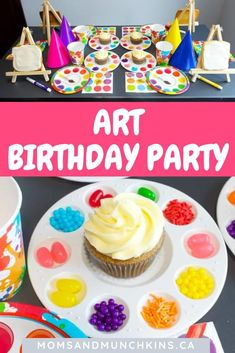 """hurricane food ideas The Perfect Art Birthday Party for your little artist. This is an amazing ideas! How cute they can """"paint"""" their cupcakes. The canvas are cookies. This is a gr Artist Birthday Party, Birthday Party Games, Birthday Ideas, Art Themed Party, Art Party, Artist Party Ideas, Shared Birthday Parties, Cupcake Party, Amazing Ideas"""