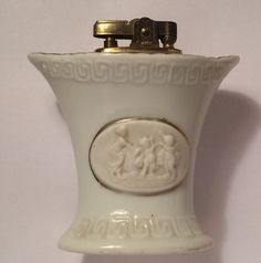 Vintage Greek Key Table Lighter Free US Shipping Mid Century Embossed Pattern White Porcelain Bust Mother Cherubs Made in Japan Old Antique