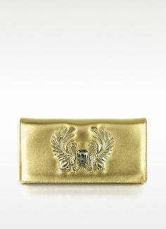 Gold Laminated Juno Small Leather Clutch - Roberto Cavalli