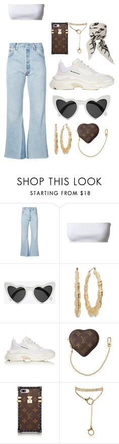 """Untitled #611"" by mimiih ❤ liked on Polyvore featuring RE/DONE, Balmain, Yves Saint Laurent, Balenciaga, Louis Vuitton and Rockins"