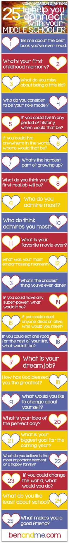 Do you ever struggle to have a good conversation with your teenager? Here are some creative questions you can use to help get the ball rolling. Thanks Marcy Crabtree for coming up with these great questions. http://benandme.com/2014/09/25-conversation-starters-help-connect-middle-schooler.html