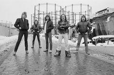 Uriah Heep posed together in Camley Street near Kings Cross, London in December 1981. Left to Right: John Sinclair, Peter Goalby, Trevor Bolder, Mick Box, Lee Kerslake.