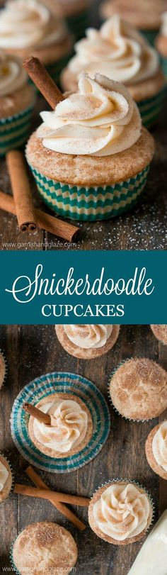 Enjoy your favorite childhood cookie in cupcake form with these soft and fluffy cinnamon sugar Snickerdoodle Cupcakes topped with cream cheese frosting. (christmas sugar cookies with frosting) Brownie Desserts, Mini Desserts, No Bake Desserts, Just Desserts, Delicious Desserts, Yummy Food, Cheesecake Cookies, Amazing Dessert Recipes, Autumn Desserts