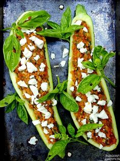 The idea for the dinner - Zucchini stuffed with millet porridge and vegetables with feta cheese. Feta, Allrecipes, Vegetable Pizza, Zucchini, Dinner, Vegetables, Cooking, Cheese Food, Dining