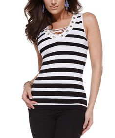 Look what I found on #zulily! White & Black Stripe Lace-Front Tank by Belldini #zulilyfinds