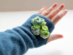 DIY fingerless gloves made from an old wool sweater!