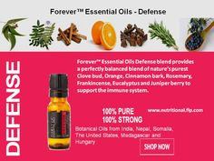 Forever Essential Oils Defense 100% Pure & 100% Strong  Uses: Aromatic, Topical and Ingestible •	Bark •	Orange •	Cinnamon •	Clove Bud •	Rosemary •	Frankincense •	Eucalyptus •	Juniper •	Berry http://nutritional.flp.com