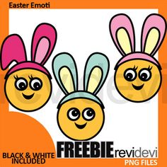Easter clipart free download. This freebie clip art pack features cute emoti (emoticon/ emoji) faces with Easter bunny hair accessory. Fun clipart for making Easter activities and centers, bulletins, worksheets, and for more craft and creative projects!