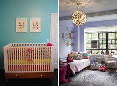 Cores suaves deixam quartos românticos. Fotografia: houzz.com - Modern Nursery e houzz.com - Contemporary Kidso.