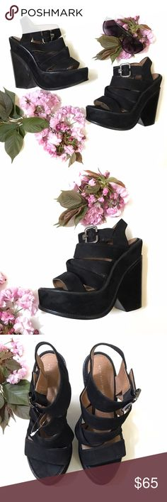 Kurt Geiger Heels👡 As shown in the pictures this shoe has some worn. In good condition great platform shoes. The material is black suede texture. From smoke and pet free home. Kurt Geiger Shoes Platforms