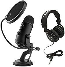 Blue Microphones Yeti USB Microphone, Studio Headphones, and Knox Pop Filter Yeti Microphone, Microphone Studio, Studio Headphones, Blue Microphones, Blue Yeti, Accessoires Iphone, Starting A Podcast, Gaming Room Setup, Gamer Room