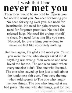 Wish That I Had Never Met You | SayingImages.com