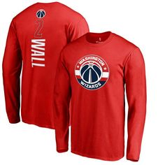 John Wall Washington Wizards Backer Name & Number Long Sleeve T-Shirt - Red - $31.99