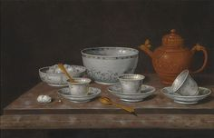 Pieter Gerritsz. van Roestraeten HAARLEM 1630 - 1700 LONDON  A STILL LIFE OF A YIXANG METAL-MOUNTED TEAPOT  ON A STONE LEDGE WITH EIGHT CHINESE EXPORT PIECES  INCLUDING THREE CUPS AND SAUCERS, TWO BOWLS AND TWO SPOONS,  ALL ON A MARBLE TABLE  © Sotheby's