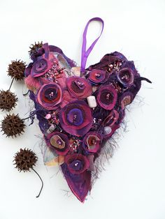 Purple heart III fiber art ornament by Cesart64 on Etsy