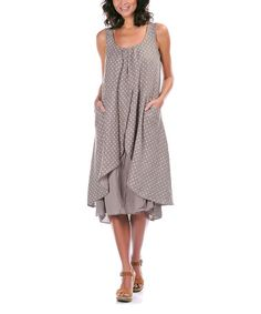 Loving this Taupe Pin Dot Layered Linen Shift Dress - Plus Too on #zulily! #zulilyfinds
