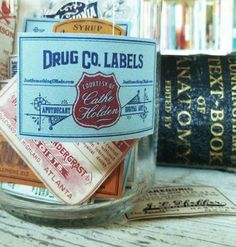 Free vintage apothecary jar labels - hmmm... now what to make with them?