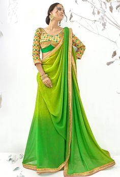 #Green #Faux #Georgette #Designer #Saree #nikvik  #usa #designer #australia #canada #greensarees