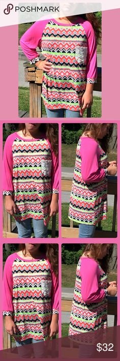 🆕List! Hot Pink Crochet Pocket Raglan Tee! NEW! Great fitting top in fun print! NWOT only worn to model. Model is s size 8 medium 64 inches tall. Boutique Tops