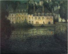 The Athenaeum - House by the river in full moon (Henri Le Sidaner - )