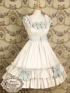 Cream & pale blue, ruffle, bow, lolita dress