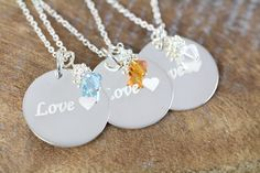 3 Engraved Custom #Bridesmaids #Jewelry Flower Girl Maid of Honor Necklaces, Love Pendant, 925 Sterling Silver