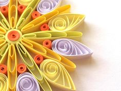 Snowflakes Yellow Orange White Christmas Tree Decoration Winter Ornaments Gifts Toppers Fillers Office Corporate Paper Quilling Quilled Art This is unique handmade quilled snowflake. Amazing Christmas gift for Your loved ones and suitable for all winter occasions. You can hang it on