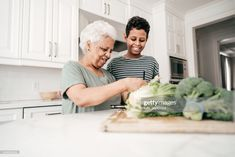 Stock Photo : Grandmother showing to her grandson how to cook healthy lunch Healthy Cooking, Royalty Free Images, Lunch, Stock Photos, Lifestyle, Couple Photos, Photography, Couple Shots, Photograph