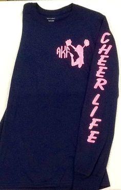 Personalized long sleeve Cheerleader Cheer Life by HeyYallandCo Cheer Coach Shirts, Cheerleading Shirts, Cheer Coaches, Cheer Mom, Cheer Stuff, Cheerleading Crafts, Cheer Practice Outfits, Cheer Outfits, Kids Cheering