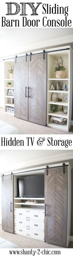 Magnificent Build this Sliding Barn Door Console! It's perfect for any room! Hide your TV and add tons of storage! Free plans and tutorial at The post Build this Sliding Barn Door Console! It's perfect for any room! Hide your TV an… appeared first on . Tv Escondida, Barn Door Media Console, Barn Door Tv Cabinet, Built In Tv Cabinet, Barn Door Pantry, Cupboard, Diy Sliding Barn Door, Sliding Doors, Diy Door