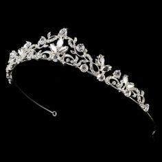 Silver and Crystal Wedding Tiara Silver Tiara, Silver Rhinestone, Bridal Tiara, Wedding Jewelry, Bridal Headpieces, Wedding Tiaras, Fantasy Jewelry, Tiaras And Crowns, Cute Jewelry