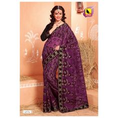 Net Saree - With machine embroidery. with border. Purple Colour. NEW LAUNCH SEPT 13 COLLECTION - Online Shopping for Net Sarees by Muhenera