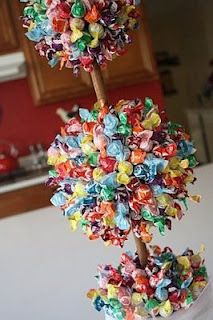 Lollipop Topiary for a candy bar ... I couldn't resist this. So fun! great for any party! Orange and brown for Halloween- Red and green for Christmas etc....