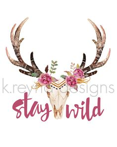 Printable Wall Art Stay Wild Wall Decor Cow Skull by kreynadesigns.etsy.com $5