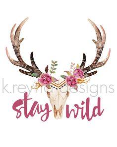 Printable Wall Art Stay Wild Wall Decor Cow Skull by kreynadesigns.etsy.com $5