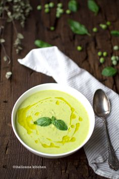 Pea and Basil Soup with Herb Breadcrumbs  http://italicanakitchen.com