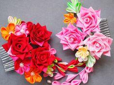 Flor Kanzashi de rosa Rose peine fue 88 por MizuSGarden en Etsy