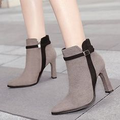 Color Block Chunky High Heeled Velvet Point Toe Date Outdoor High Heels Boots - heels classy High Heels Boots, Chunky High Heels, Heeled Boots, Shoe Boots, Heeled Sandals, Women's Shoes, Nike Shoes, High Heels Outfit, Shoes Men