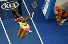 Serena Williams wins sixth Australian Open The superstar continued her domination of the tennis world and rival Maria Sharapova despite a hacking cough Saturday night. Sharapova's kind words for winner